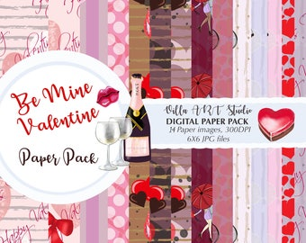 Be Mine Valentine Paper Pack, Planner Cover,  High Quality Printable Digital Paper, Card making, DIY projects, planner stickers, card making