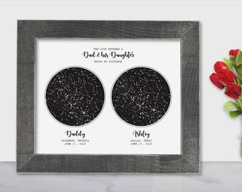 Father Daughter Gift To For Dad Long Distance From Birthday 2 Map Print Art