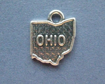 5 Ohio Charms - Ohio Pendants - State Charms - Ohio - Antique Silver - 14mm x 17mm  -- (V1-11131)