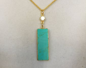 Gold Chain with Turquoise and Crystal Necklace