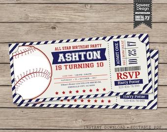 Baseball Invitations, Baseball Birthday Invitations, Baseball Ticket, Baseball Party Invitations  - Instant Download Editable PDF