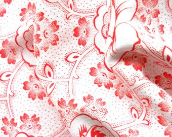 vintage french fabric floral fabric for patchwork, quilting or pillowcases, antique, red flowers, french fabric, 68