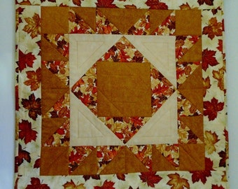 Quilted Table Topper in Fall Colors, Autumn Table Runner, Fall Leaves Quilted Wall Hanging, Autumn Table Quilt, Quilted Table Centerpiece