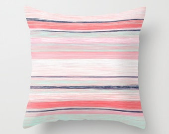 Pillow Cover Throw Pillow Cover Accent Pillow Cover Decorative Pillow Cover Coral Navy Aqua Pillow Cover Cushion cover Euro Sham Cover