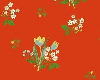 Heather Ross Kinder Fabric, floral print on red, Windham Fabrics SKU 43482-2, half yard quilting cotton, flower fabric, floral fabric