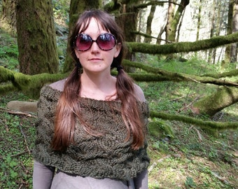 Hand Knitted Olive Capelet