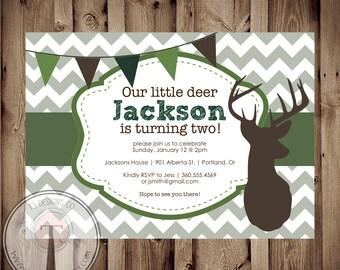 Camo Hunting Birthday Invitation, deer birthday invitation, hunting birthday party, little boy birthday, modern hunting invitation