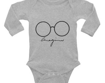 The Beatles John Lennon Imagine Drawing Infant Long Sleeve Bodysuit