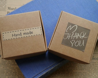 "10 You Assemble Craft Gift Box Jewelry Boxes with Your Choice ""Handmade"" or ""Thank You"" Stickers"