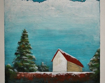 Original art, winter landscape painting, red roof barn painting, country house, 6x6 inches acrylic painting within an 11 x 14 inches mount