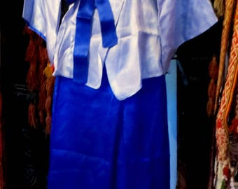 SALE 40s/50s Asian Style Blue Silk Beach Pajamas