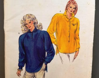 Kwik Sew 1644 Pattern, Misses tops, Sizes Extra Small, Small, Medium, Large, stretch knits, raglan sleeves, long sleeve