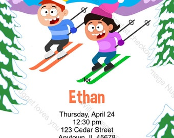Ski Party Invitation Ski Tag Invitation Tubing Party