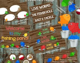 Fishing Party Package, Fishing Birthday Party, Fishing Party supplies, Fishing Birthday Party Printable Decorations, Fishing Centerpieces