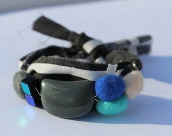 Grey, Blue, White and Black Resin and Felt Pebble Mixed Media Irregular Shaped Bracelet