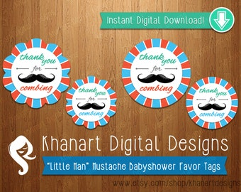 """Instant Download: """"Thank You for Combing"""" Mustache Babyshower Favor Tags (Orange / Teal)"""