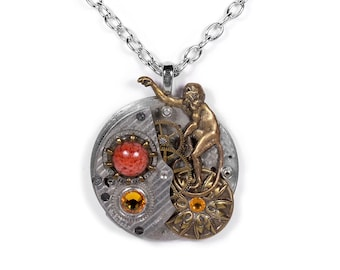 Steampunk Jewelry Mens Womens COLLAGE Necklace PINSTRIPE Pocket Watch Monkey Coral ORNATE Medallion Topaz Crystals - Jewelry by edmdesigns