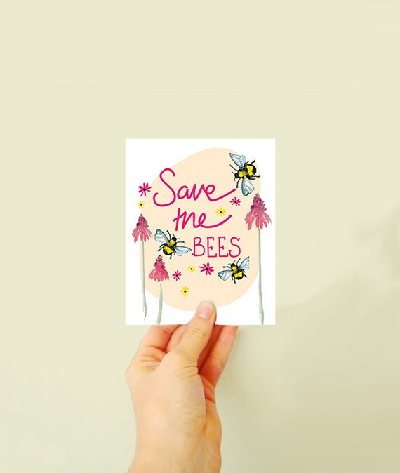 Plantable seed card! Save the bees - plant the card and watch it grow - made with wildflowers - card for gardener lover - card for her