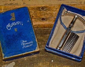 Antique Vintage CURVFIT The Woman's Razor Shaving Razor in Original Box