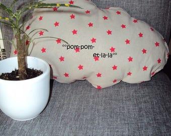 small pillow shaped cloud linen red stars