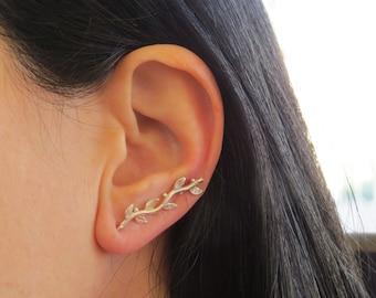 Leaf ear cuff, Silver ear cuff earring, ear climbers