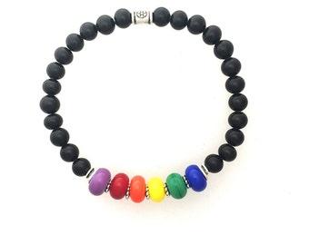 Gay Pride Rainbow Bracelet 7 1/2 inches #1