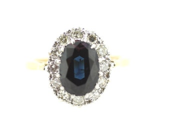 Rare Sapphire Ring / Teal Sapphire Ring / Sapphire Solitaire Ring / Single Sapphire Ring / Sapphire Diamond Cluster Ring /Gold Sapphire Ring