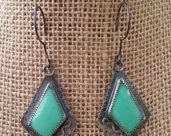 Sterling Silver, Earrings, turquoise stone,Patina oxidized.