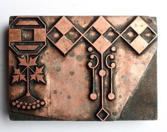 LARGE and UNUSUAL Design 1903-1953 Antique GERMAN Copper Letterpress Cut printing block Diamond Shapes Argyle