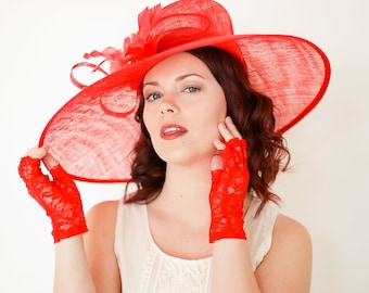 Red Derby Hat, Church hat, Tea Party Hat, Red Hat, Formal Hat, Fashion Hat, Church Hat, Derby Hat, wedding hat, funeral hat
