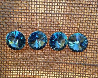 Aquamarine Swarovski Crystal Drop Earrings, Swarovski Indian Sapphire Earrings, Blue Tanzanite Earrings, March Birthstone Jewelry