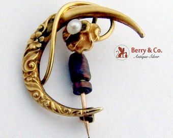Floral Figural Brooch Pin Seed Pearl Accent 10K Yellow Gold