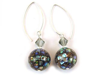 Paua Abalone Sterling  Silver Earrings