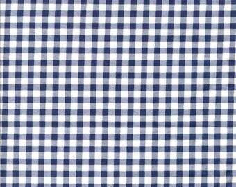 Coupon de Tissu coton à carreaux marine et blancs