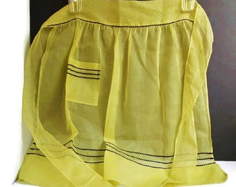 Vintage Apron Yellow Black With Waist Tie and Pocket One Size, Sheer Yellow Half Apron Vintage Fashion Accessory Photo Stage Prop