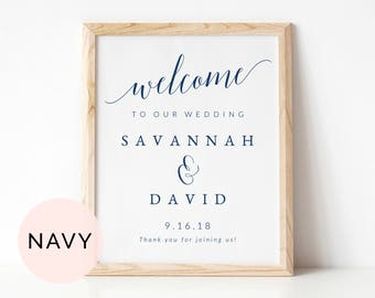 Navy Welcome Table Sign Template, Printable Wedding Table Sign, Wedding Welcome Sign, Welcome to Our Wedding Sign, Printable Welcome Sign