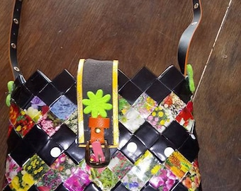 handbag recycled upcycled floral paper