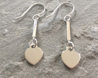 Sterling Silver Long Heart Earrings, 925 Silver Heart Dangle Bar Earrings, Sterling Silver Jewellery Gift, Contemporary Jewelry, Modern