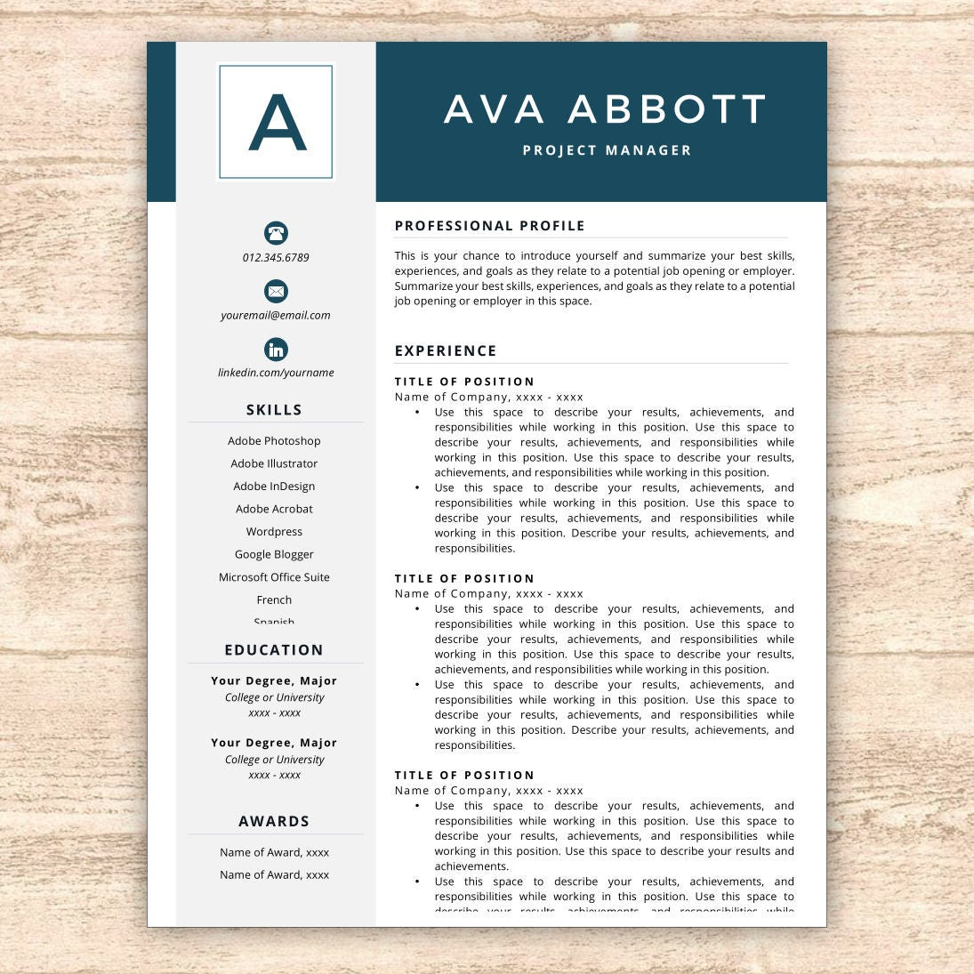 Resume Template, Monogram Resume, Resume Template Instant Download, Resumes,  Cover Letter +  Template Resume Free
