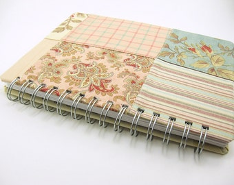 5 x 8 blank fabric covered journal, sketchbook, notebook - patchwork fabric pastel blue pink