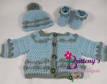 Baby Boy Layette  Crochet Baby Boy Layette  Baby Boy Sweater  Crochet Baby Boy Sweater  Crochet Baby Boy Bouncing Ball Cardigan Sweater