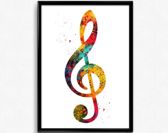 Treble Clef, Musical Symbol, Colorful Poster, Room Decor, gift, print, wall art (338)