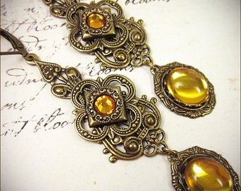 Renaissance Earrings, Medieval Jewelry, Topaz, Renaissance Jewelry, Handfasting, Pagan Wedding, Ren Faire, Garb, Queen, Avalon