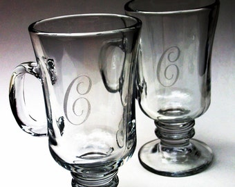 Personalized Initial - Irish Coffee Glass set of 4  - Great Wedding Gift