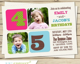 Triple birthday invitation three 3 child birthday party sibling birthday invitation boy girl twin brother sister double birthday invite print your own digital file choose your colors stopboris Choice Image