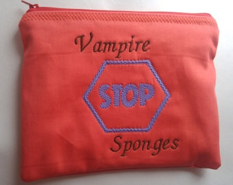 Embroidered Zipper Pouch-  STOP – Vampire Sponges