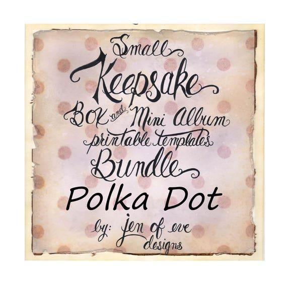SMALL Keepsake Box & Mini Album Printable Template in Polka Dot and Plain