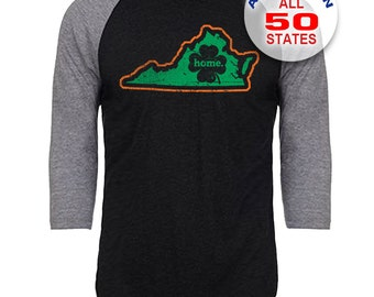 Virginia Home State Irish Shamrock - Unisex Tri-Blend 3/4 Sleeve Raglan Baseball T-Shirt - Sizes S-3XL