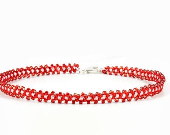 Red Anklet - Beaded Chain Anklet - Ankle Bracelet - Beadwork Jewelry - Daisy Chain Jewelry - Beaded Anklet - Seed Bead Jewelry