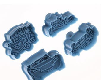 4pcs Cars Cookie Cutters Set, Disney Cars Cookie Cutter Plunger Set, Fondant Cutters, Cake Mold, Embossing, Hand Press Stamp, DIY, PC0001
